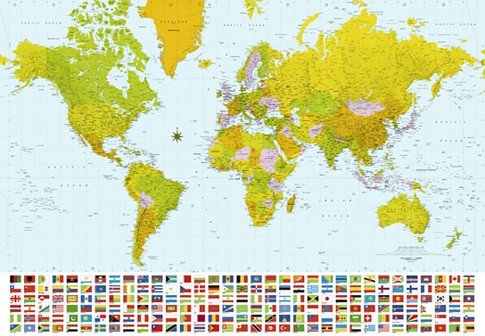 Foto tapet 280 Map of the World 366x254