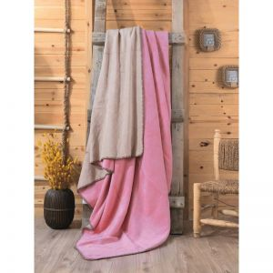 CB COTTON BLANKET DOUBLE - PEMBE BEJ