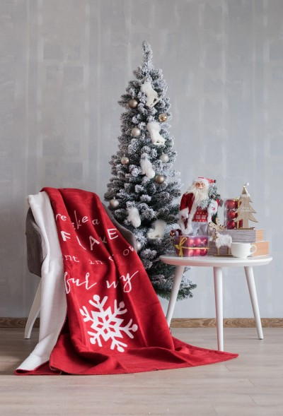 COTTON BLANKET 150x200 - Snowflake Red 20152a