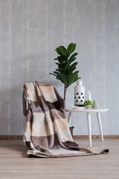 ECO BLANKET 150x200 - 18108-A Squares Cream